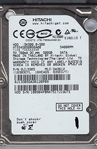 Hitachi Hard Drive SATA 9.5mm 500GB 2.5in 5400RPM HTS545050B9SA00