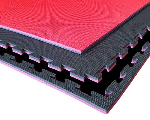 G5 HT SPORT Tatami Nero Rosso da Fitness a Puzzle   100 * 100 * 2 cm   Protezione per Pavimenti   materassino per Palestra, Workout, Ginnastica, Arti Marziali   Lavabile e Reversibile