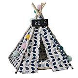 DirkFigge Pet Teepee Dog Cats Rabbits Sleeping Bed Canvas Portable Pet Tents Removable Washable Play Houses with Cushion for Indoor Outdoor