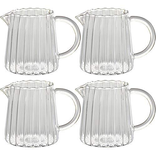 4 STKS 9Oz Creamer Glas Melk Pitcher met Handvat Koffie Serveerbare Pitcher voor Saus Esdoorn Siroop in Keuken Tafel