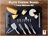 Large Slate Cheese Board and Knife Set, 7 piece, Cheese Platter Slate Board, Cheese Serving Board, 4 Stainless Steel Knives, 2 Soap Stone Chalks, 16' X 12' (7 piece)