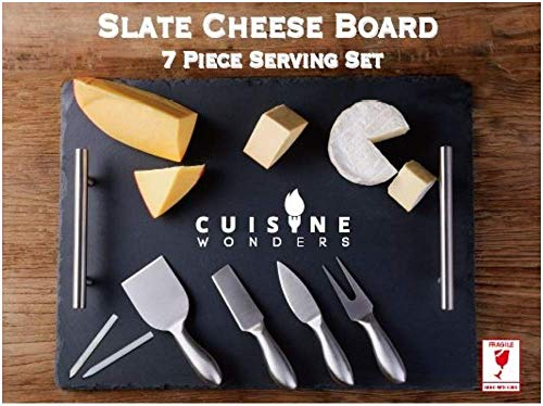 Large Slate Cheese Board and Knife Set, 7 piece, Cheese Platter Slate Board, Cheese Serving Board, 4 Stainless Steel Knives, 2 Soap Stone Chalks, 16 X 12 (7 piece)