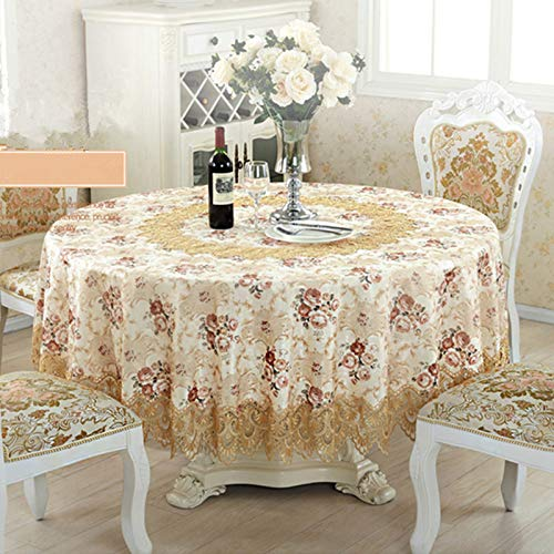 150-230cm Top Elegante Mantel Redondo de Encaje Bordado para Mantel de Boda Cubierta de Tela Fundas de TV Manteles de té Sofá Toalla Refrigerador 230cmRonda