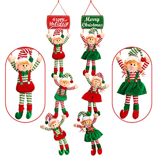 Yecence Christmas Hanging Ornaments 44' Tree Décor Door Decorations Party Decorative Xmas Elves Boy and Girl Set of 2