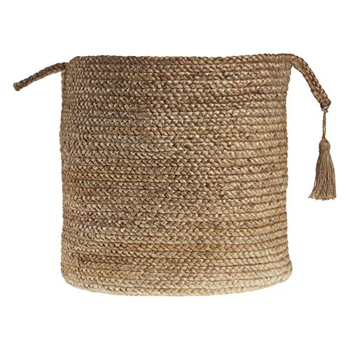 LR Home Montego Cesta de almacenamiento decorativa, 43 cm de alto, yute natural