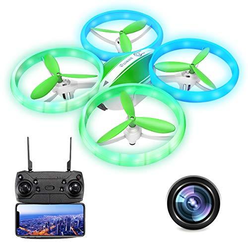 EACHINE E65HW Drone con Telecamera 1080P Mini Drone Adatto per Principianti Funzione di Sospensione Altitudine Headless Mode 3D Flip Luce a LED (Verde)