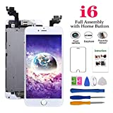 Screen Replacement Compatible with iPhone 6 White 4.7(inch) LCD Display Touch Digitizer Assembly Repair Kit & Home Button,Ear Speaker, Front Camera,Proximity Sensor ,Repair Tools