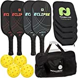 Champion Eclipse Graphite Pickleball Paddle Set   Includes 4 Paddles + 4 Outdoor...