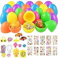 Fabur 12 PCS Huevos de Pascua con 12 PCS Mini Regalo de Juguete,Huevos de Plástico Precargados de Colores Brillantes con 80 PCS Pegatinas de Pascua