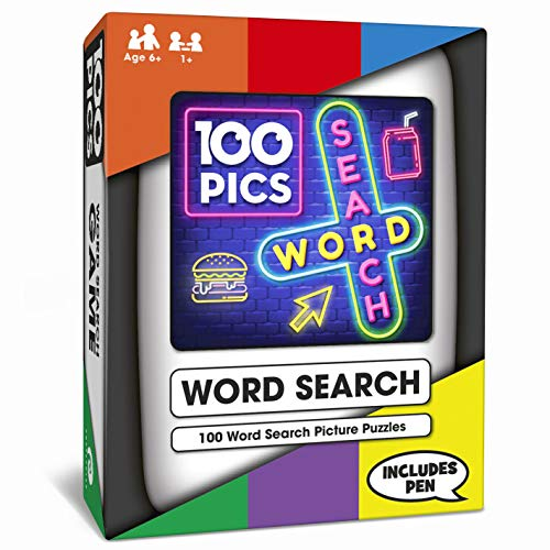 100 PICS Pocket Word Search Game - Pocket Puzzle with Picture Clues, Wipe Clean Cards with Pen, for Kids and Adults