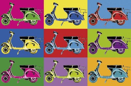 KiSS! Fototapete, Bildtapete, VESPARAMA, Pop-Art-Tapete, Bunte Vespa-Roller als Poster Kunstbild, 115x175cm, 1-teilig, gestochen scharfe XXL-Ansicht verfügbar.