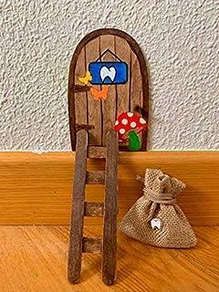 Puerta Ratón Pérez mágica con Carta, Escalera, Bolsita, Regalo original niño niña Ratoncito Pérez. Hecho a mano en España.