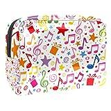 Bolso Cosmético Impermeable Estrella de Regalo de Nota Musical Neceser Viaje Bolsa de Maquillaje Portable Neceser de Bolsa de Lavado de Viajes Vacaciones Elementos Esenciales 18.5x7.5x13cm
