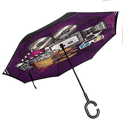 Modern Upside Down Umbrella with C-Shaped Handle Cartoon Like Cinema Movie Image Burgers Popcorns Glasses Watching Film Purple Earth Yellow