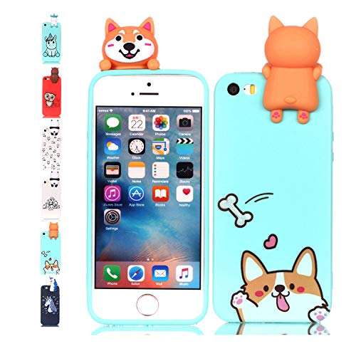 Universecase Cover iPhone 5 5S SE, Custodia iPhone 5 5S SE 3D Corgi Verde Chiaro Squishy Kawaii Toy Animal, Silicone Case Antiurto Anti-Graffio Bumper Protettiva Caso