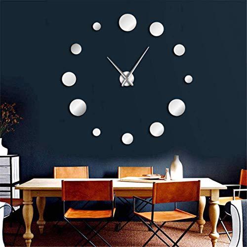 AQNY Ronde geslepen klok spiegel acryl huisdecoratie DIY eenvoudig ontwerp frameless reus muur klok modern horloge 3d sticker