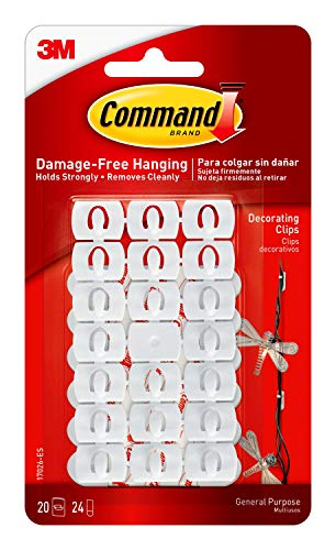 Command Small Decorating Clips, White, 20-Clips, 24-Strips, Decorate Damage-Free