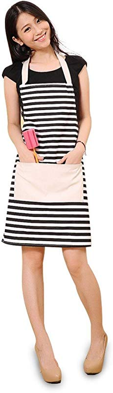FSK Cotton Canvas Women S Apron With Convenient Pocket Durable Stripe Kitchen And Cooking Apron For Women Professional Stripe Chef Apron For Cooking Grill And Baking Black And White