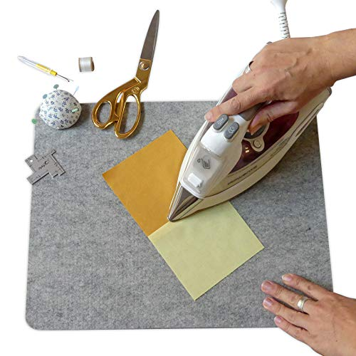 """Madam Sew Wool Pressing Mat for Quilting (17"""" x 13.5"""") – 100% Natural Wool Ironing Pad Promotes Crisp, Flat Seams on Quilt Blocks, Sewing Projects and Embroidery without Stretching or Puckering Fabric"""