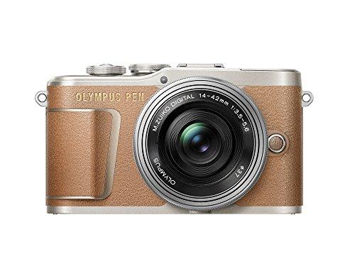 Olympus PEN E-PL9 Kit, Cámara de Sistema Micro Cuatro Tercios (16,4 MP, Estabilizador de Imagen de 5 Ejes, Visor Electrónico, 4K Vídeo) + Objetivo M.Zuiko 14-42mm EZ, marrón/plata