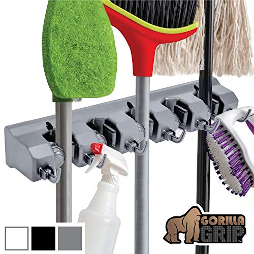 Gorilla Grip Premium Mop and Broom Holder, 5 Auto Adjust Slots, 6 Hooks, Holds Up to 50 Lbs, Easy Install Wall Mount, Store Cleaning and Gardening Tools, Organize Kitchen, Garage, Storage Rooms, Gray