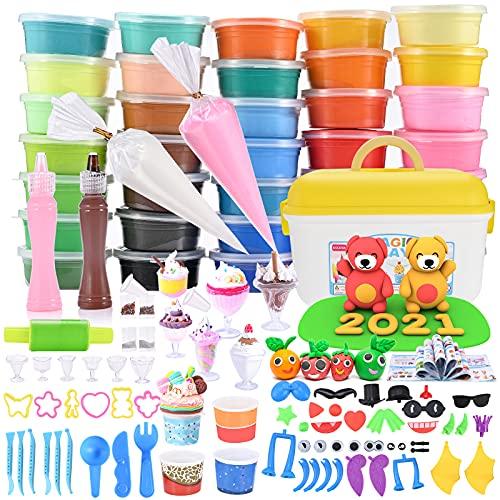 GOLDGE 36 Colores Arcilla Polimérica, Modelado de Color Arcilla para Niños con Tema para Tartas, DIY Artesanía Arcilla Set para Niños Regalo