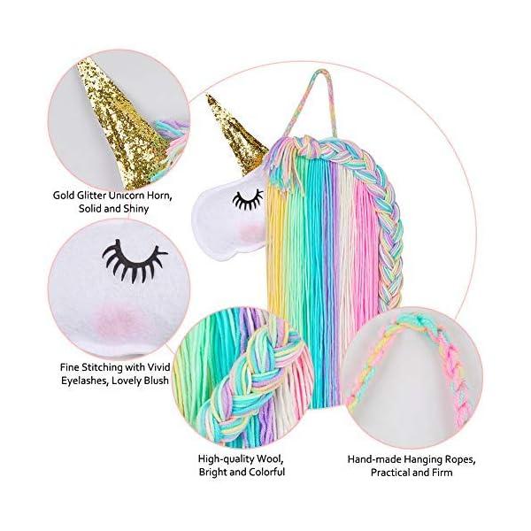 Beinou Unicorn Hair Clips Holder Rainbow Yarn Tassels Hair Bows Storage Shy Unicorn Face Headband Organizer Unicorn… 6