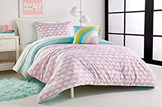 DKNY Kids Over The Moon Duvet Cover, Sham and Accent Pillow Set, Full/Queen, Purple