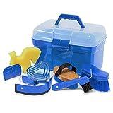 Caja con accesorios de limpieza para caballos, color: azul, caja de limpieza, maletín de limpieza, caja con accesorios de limpieza