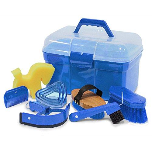 Schoonmaakbox poetskist gevuld met accessoires voor paarden Kleur: azuurblauw | schoonmaakdoos | poetskoffer poetsdoos met inhoud