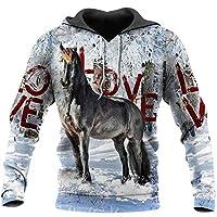 ファッションアニマルパーカー馬の絵カラー3Dプリントフード付きスウェットシャツユニセックスカジュアルプルオーバー hoodies3 3XL