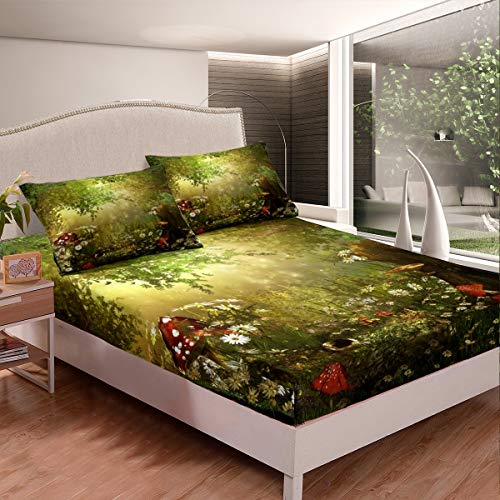 Erosebridal Magic Fitted Sheet Mushroom Fitted Sheet Twin Size Daisy Leaves Branches Sunset Nature Bedding Set Trippy Style Fairy Tale Theme Bed Cover Home Room Decorative