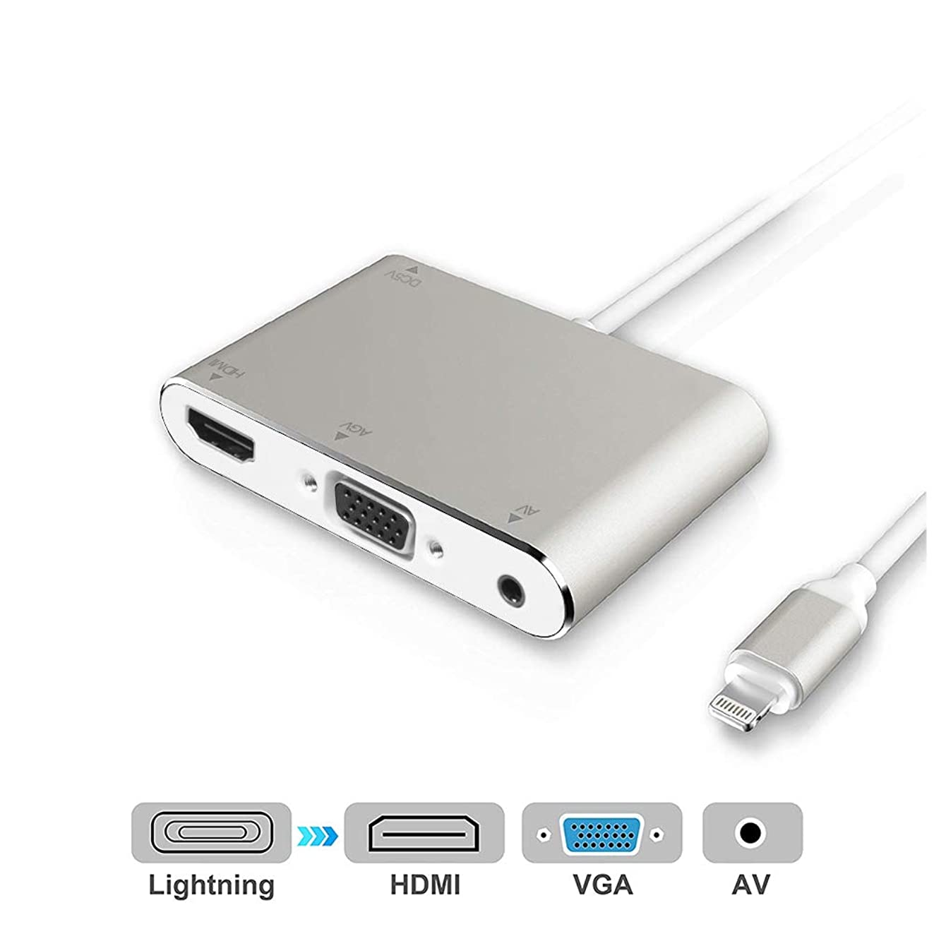 HDMI VGA AV Adapter Converter, 2019 Latest Version 4 in 1 Plug and Play Digtal AV Adapter for iPhone X / 8 / 8Plus/7/7Plus/6/6s/6s Plus/5/5s iPad iPod to Projector HDTV (Silver)