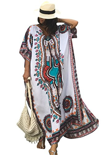 SMUDGE Life Women's White Ethnic Print Kaftan Maxi Dress Summer Beach Dress