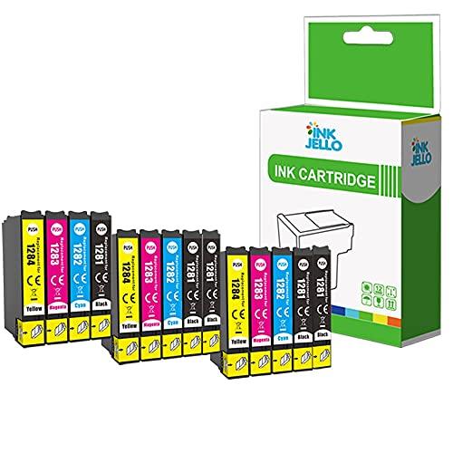 Inkjello cartuccia d' inchiostro di ricambio per Epson Stylus Office BX305F BX305FW Plus Stylus S22SX125SX130SX230SX235W SX420W SX425W SX430W SX435W SX440W SX445W T1285(B/C/M/Y, 14-pack)
