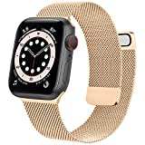 Mugust Metal Band Compatible with Apple Watch Band 38mm 40mm 42mm 44mm, Stainless Steel Mesh Strap Replacement for iWatch Series 6 5 4 3 2 1 SE