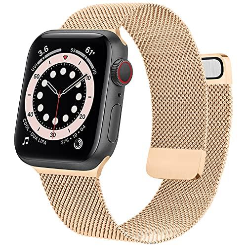 Mugust Correa de metal compatible con Apple Watch Band 38 mm, 40 mm, 42 mm, 44 mm, correa de malla de acero inoxidable de repuesto para iWatch Series 6, 5, 4, 3, 2 y 1 SE (oro rosa, 42 mm/44 mm)