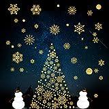 LessMo Noël Autocollants Fenêtre, NoëL Stickers Décoration DIY, Glitter doré Fenêtre de Noël réutilisable Autocollants statiques en PVC Ornement Fournitures de fête pour vitrines Portes en Verre