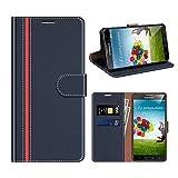 COODIO Funda Cuero Samsung Galaxy S4, Funda Samsung S4, Funda Cover Rugged Galaxy S4 Case con Magnético/Cartera/Soporte para Samsung Galaxy S4, Azul Oscuro/Rojo