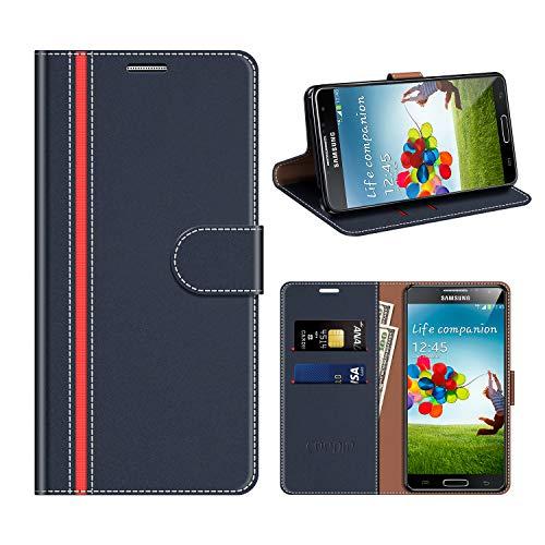 COODIO Custodia Samsung Galaxy S4, Custodia in Pelle Rugged Samsung Galaxy S4, Custodia Portafoglio Cover Porta Carte Chiusura Magnetica per Samsung Galaxy S4, Blu Scuro/Rosso
