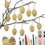 Papierdrachen 12 braune Ostereier aus Pappmaché Eier zum Bemalen und Beschriften 4x6 cm | Ostern 2021