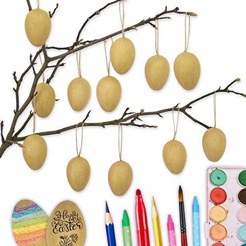 Papierdrachen 12 braune Ostereier aus Pappmaché | Klassische Osterdekoration für Zweige und Ostergestecke | Eier zum Bemalen und Beschriften 4x6 cm | Ostern 2021