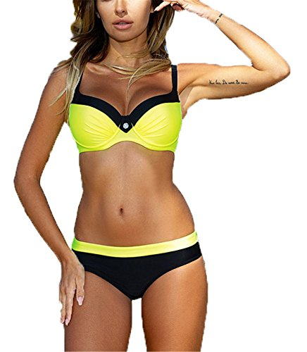 La MaxPa Bikinis Set Swimwear Women 2018 Summer Girls Sexy Bikini Push up Multicolor Swimming Suit Two Piece Beach Bathing Suit Solid Yellow L