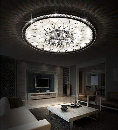 LANTING Kristall Innen LED-Deckenlampe Dimmbar mit Fernbedienung Modern Deckenleuchte Rund Deckenbeleuchtung Kreative Glas Ringe Lampe für Arbeitszimmer Wohnzimmer Schlafzimmer Beleuchtung,Ø43cm