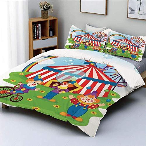 Qoqon Bettbezug-Set, lustige Zirkusszene mit Clowns auf Gras Regenbogen Riesenrad Happy Bubbles Childhood ThemeDecorative 3-teiliges Bettwäscheset mit 2 Kissen Sham, Grün Rot, Best Gift Fo
