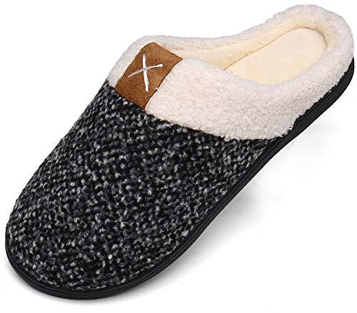 Mishansha Winter Hausschuhe Herren Memory Foam Plüsc Pantoffeln Männer Warm rutschfeste Slippers für Indoor & Outdoor Weiß Gr.44/45 EU (300mm)