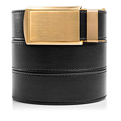 SlideBelts Men's Classic Belt with Premium Buckle (Black Leather With Framed Gunmetal Buckle (Vegan), One Size)