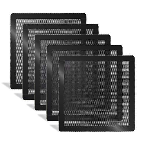 120mm PC Fan Dust Filter Magnetic Frame Computer Fan Grills Black Dust Mesh PC Cooler Filter Screen Dustproof Case Covers 5 Pack