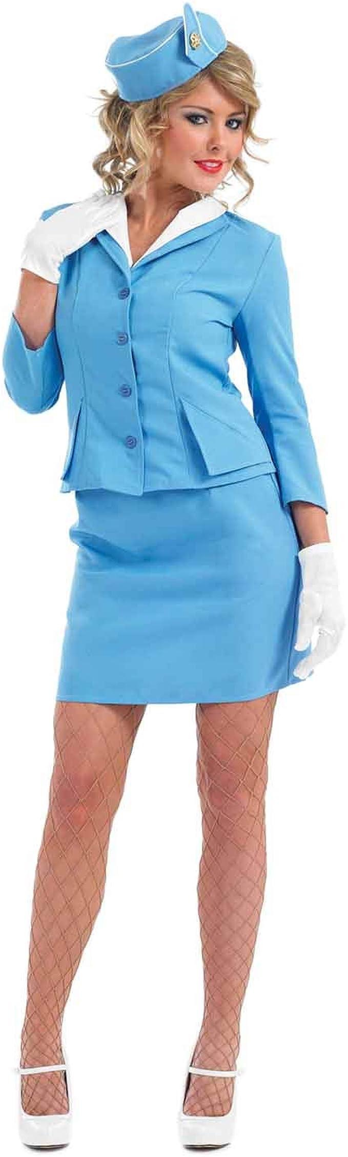 60s Costumes: Hippie, Go Go Dancer, Flower Child, Mod Style fun shack Flight Attendant Costume Blue Halloween Dress Available in Small Medium Large XL XXL  AT vintagedancer.com