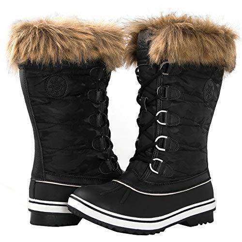 GLOBALWIN Women's 1837 Black Winter Snow Boots 8.5M